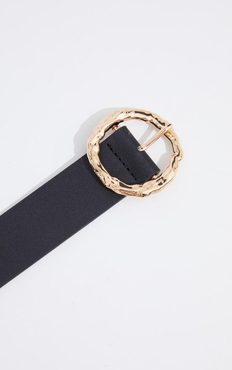 Gold Circular Textured Buckle Waist Belt 3