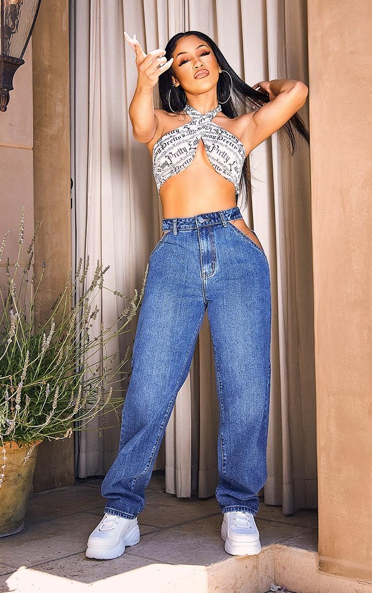 Mid Blue Wash Cut Out Waist Band 90'S Baggy Boyfriend Jeans 1