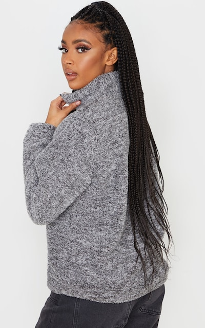 Grey Borg Zip Front Sweater