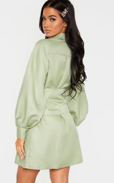 Sage Green Button Waist Detail Shirt Dress