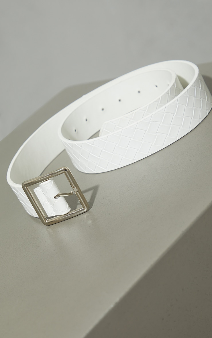 White Plait Square Buckle Waist Belt 3