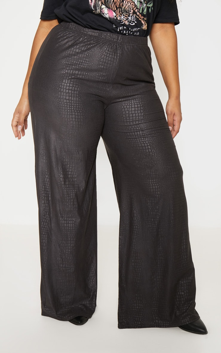 Plus Black Textured Wide Leg Pants 2