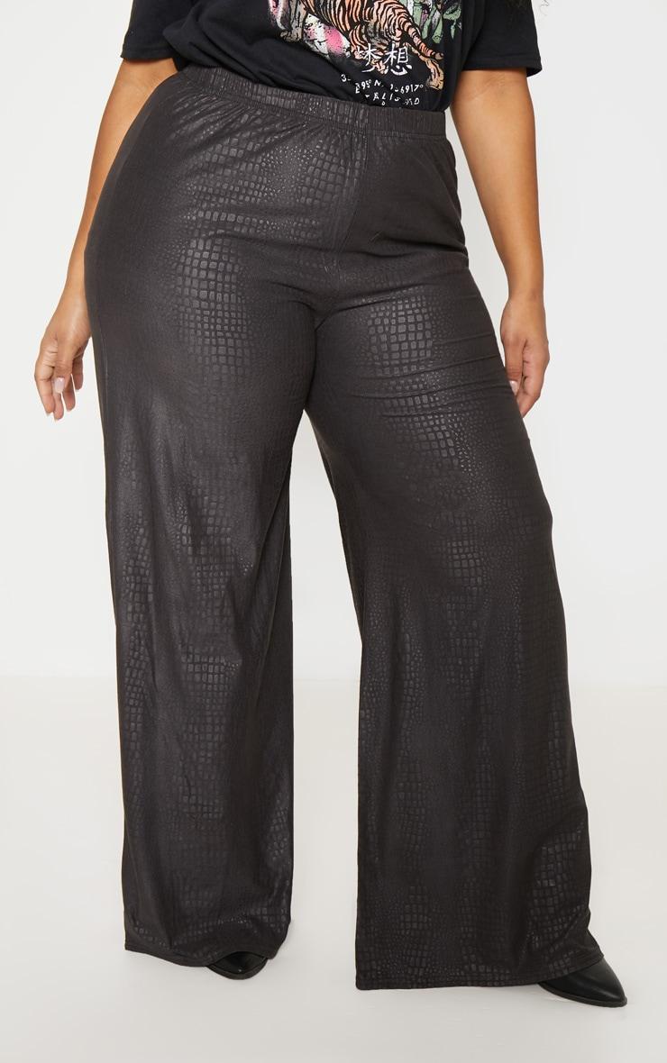 Plus Black Textured Wide Leg Pants  2