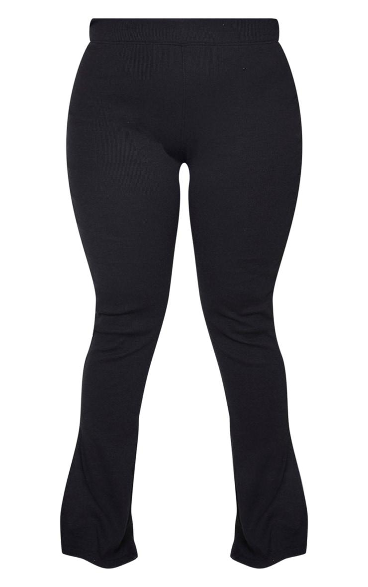 Plus Black High Waisted Textured Rib Split Hem Trousers 5