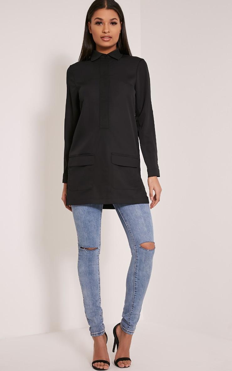 Hana Black Pocket Detail Oversized Longline Shirt 4