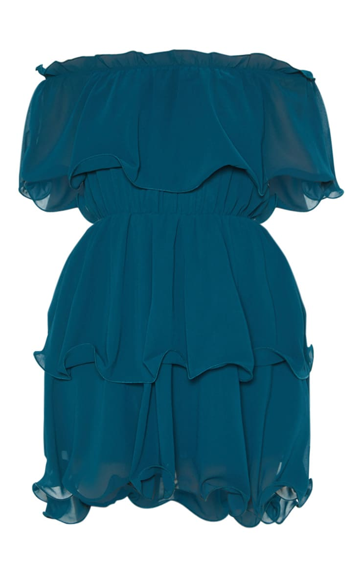 Emerald Green Chiffon Bardot Ruffle Tiered Dress 3