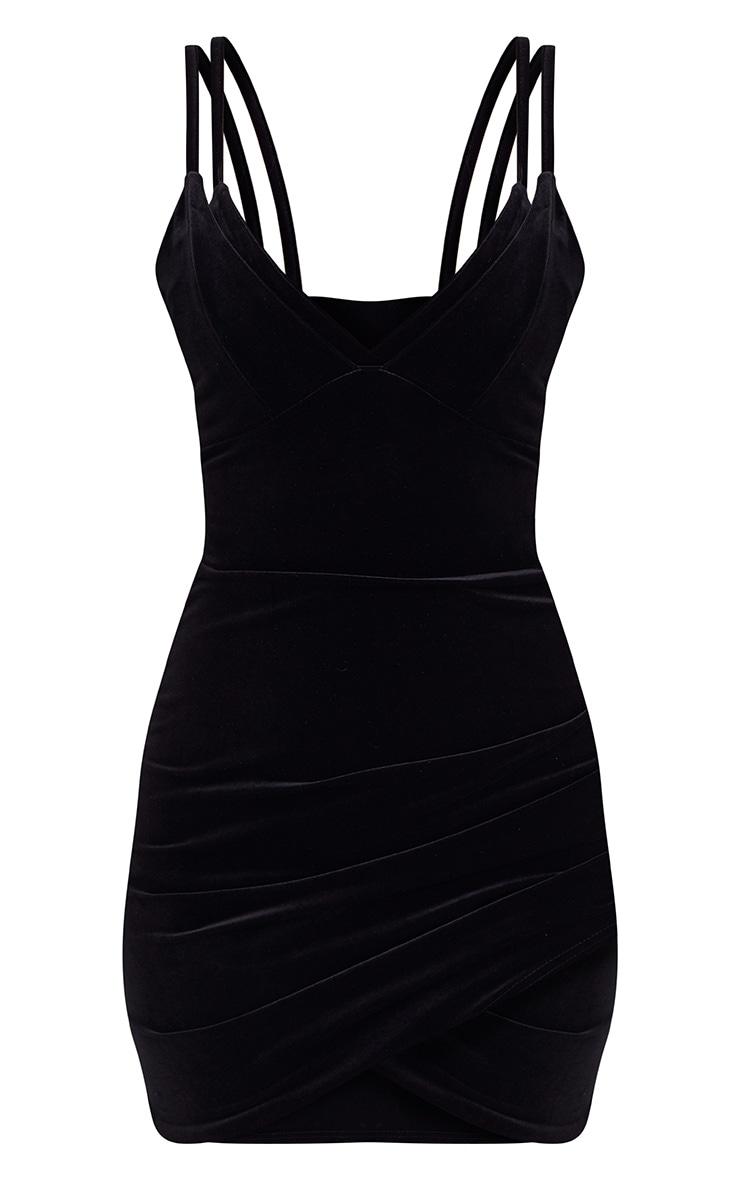 Black Velvet Double Strap Ruched Bodycon Dress 3