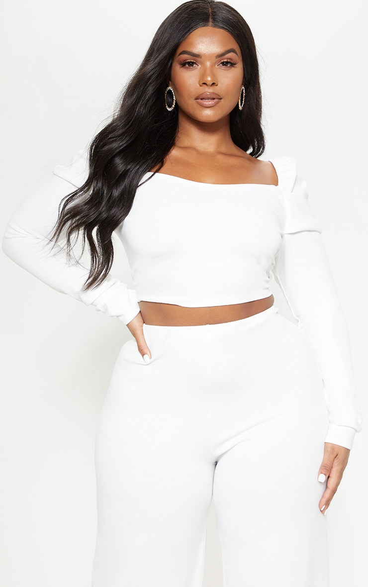 aaf3f7d125a Plus White Puff Long Sleeve Crop Top | PrettyLittleThing USA