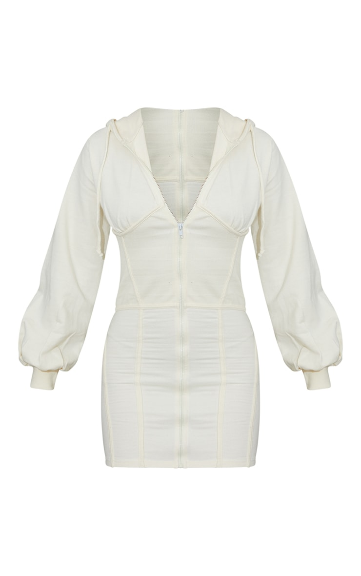 PRETTYLITTLETHING Cream Badge Rib Waist Detail Zip Up Jumper Dress 5