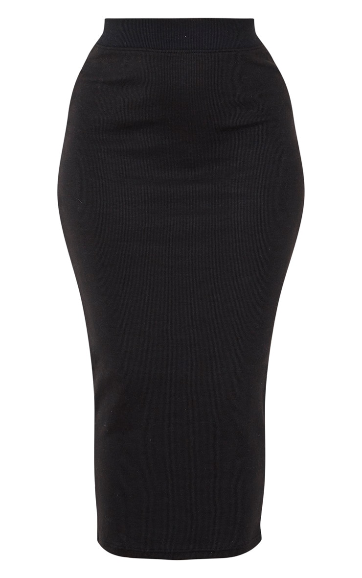 Black Structured Rib Midaxi Skirt 3