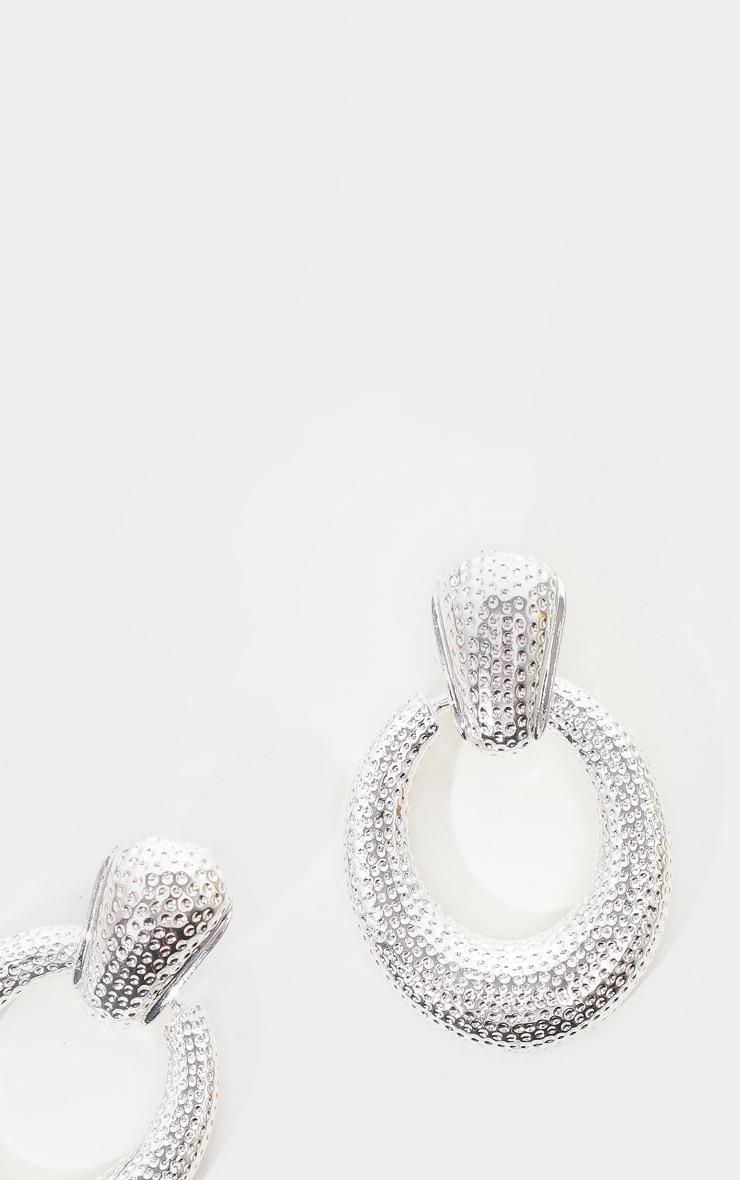 Silver Textured Door Knocker Oval Drop Earrings 3