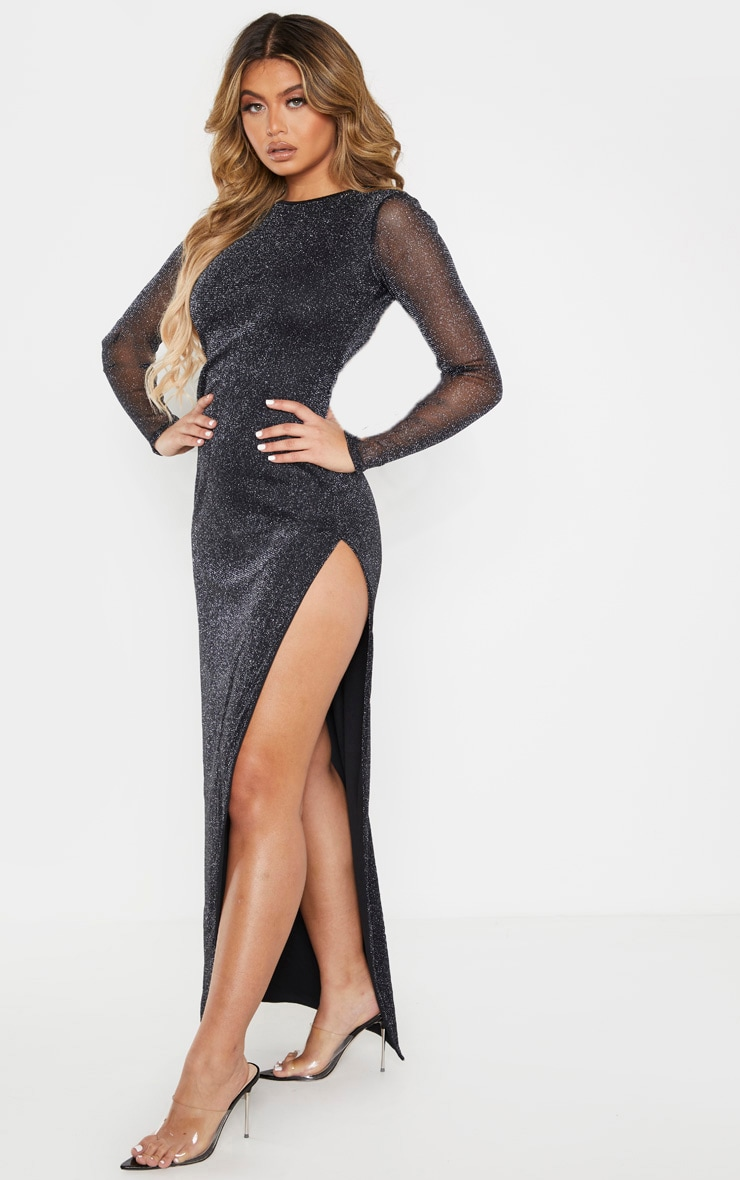 Black Glitter Backless Long Sleeve Maxi Dress 1