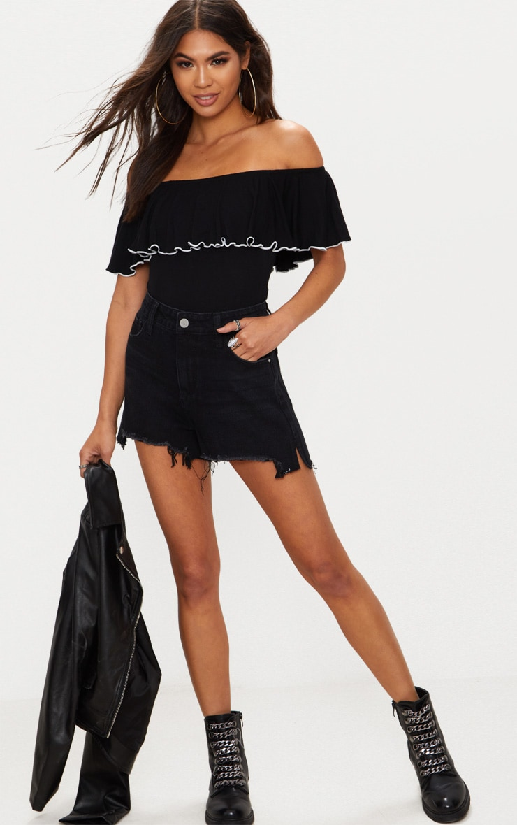 Black Jersey Contrast Frill Bardot Thong Bodysuit 5