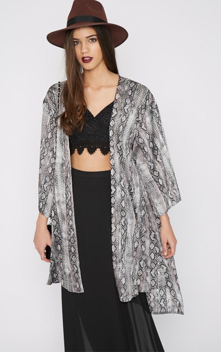 Sofia Grey Snake Print Silk Kimono  1