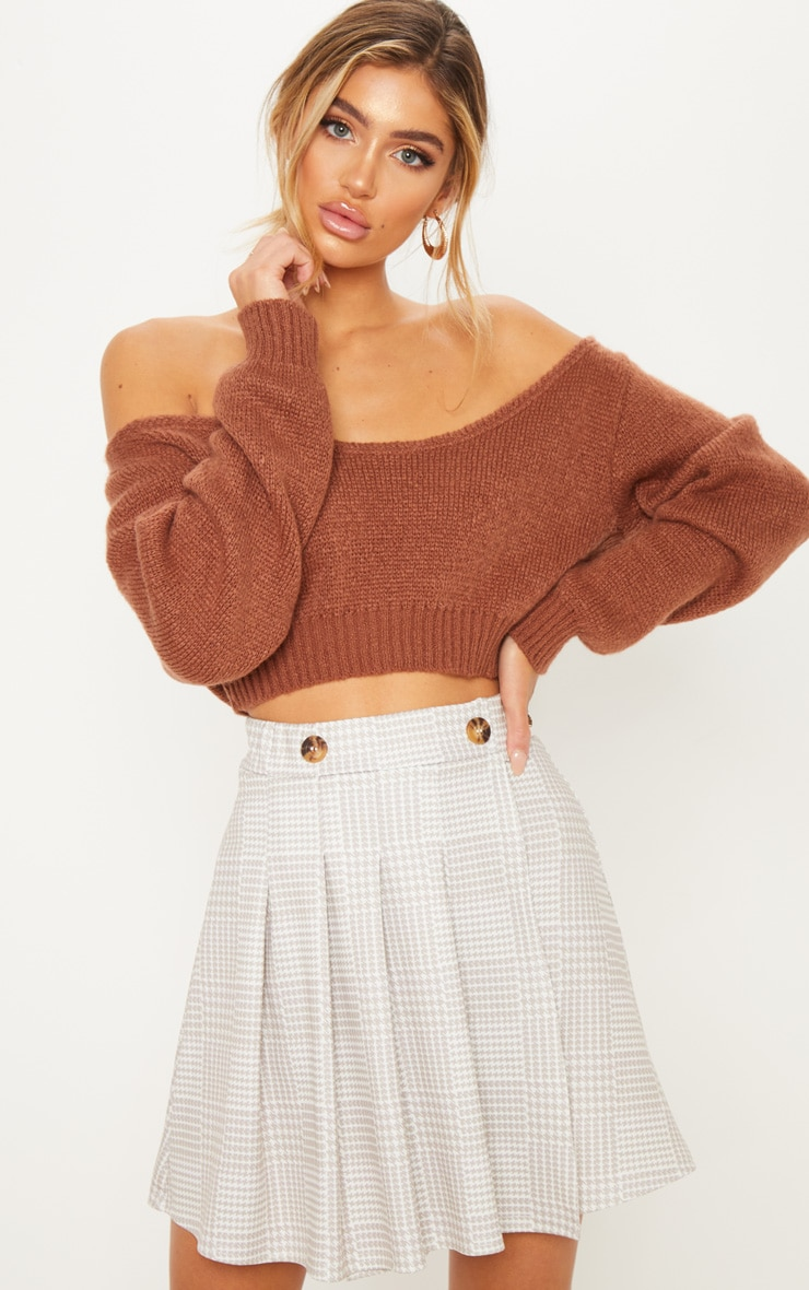 Taupe And Cream Button Detail Check Tennis Skirt