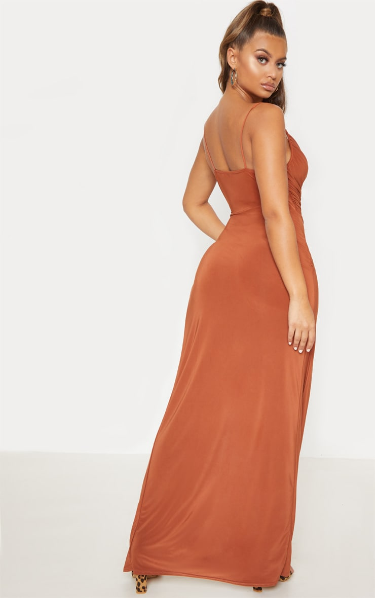 Terracotta Slinky Ruched Drape Split Leg Maxi Dress 2