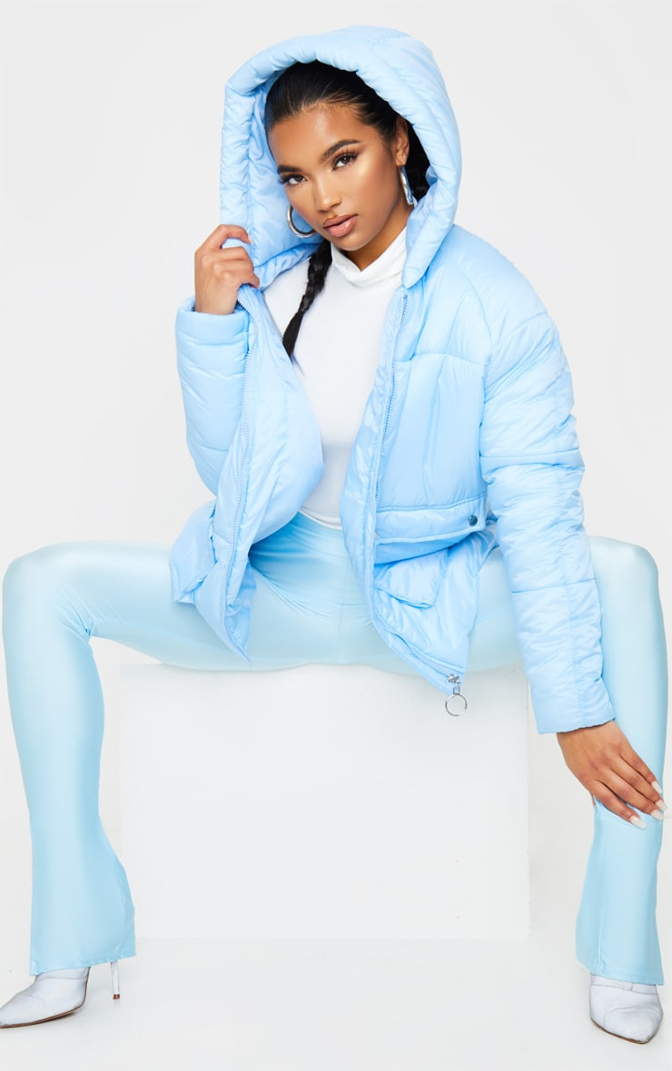 Light Blue Pocket Front Hooded Puffer 4