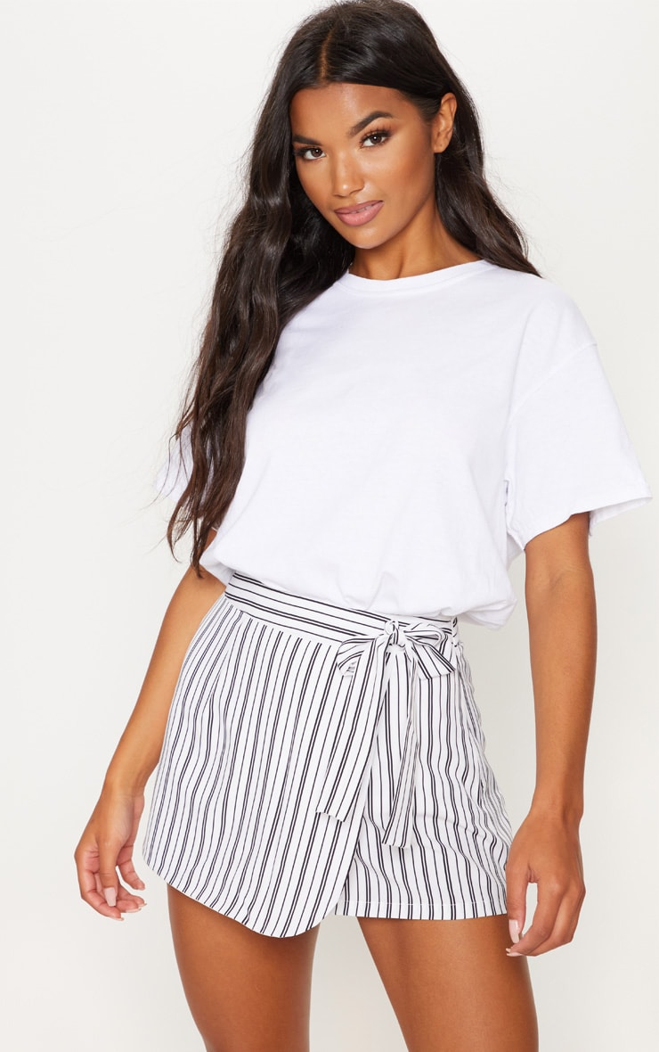 Monochrome Stripe Side Tie Skort 1