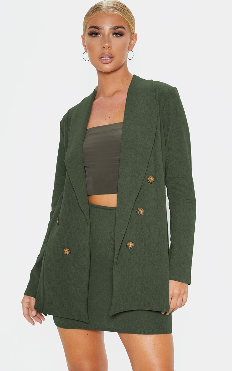 Khaki Oversized Button Detail Blazer 1