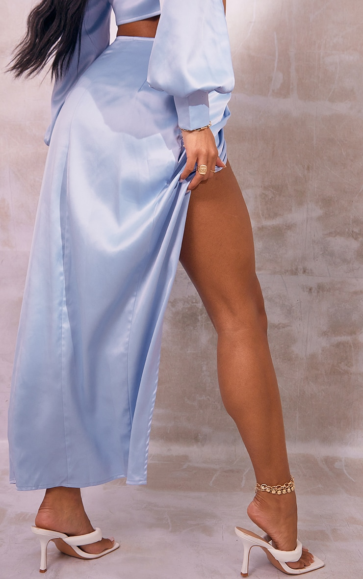 Light Blue Heavy Satin Ruched Hem Split Leg Midi Skirt 3