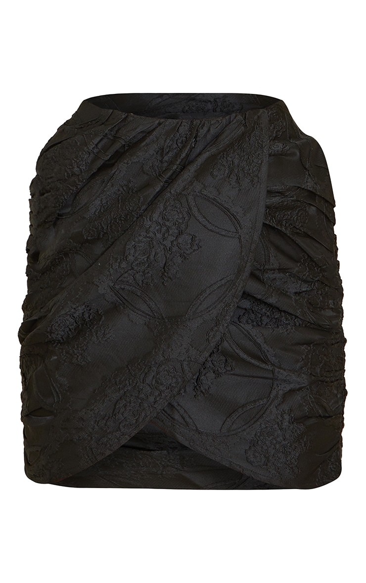 Black Structured Embossed Jacquard Panel Front Puff Mini Skirt 6