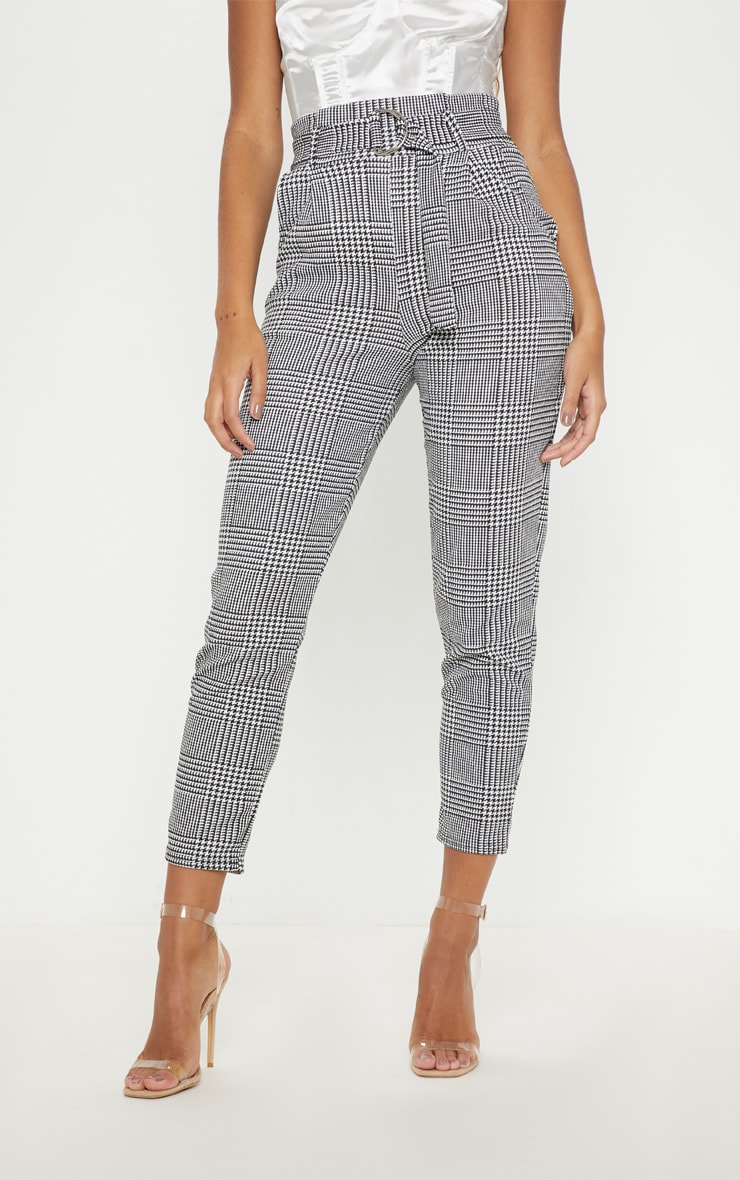 Monochrome Check D Ring Belted Cigarette Pants  2