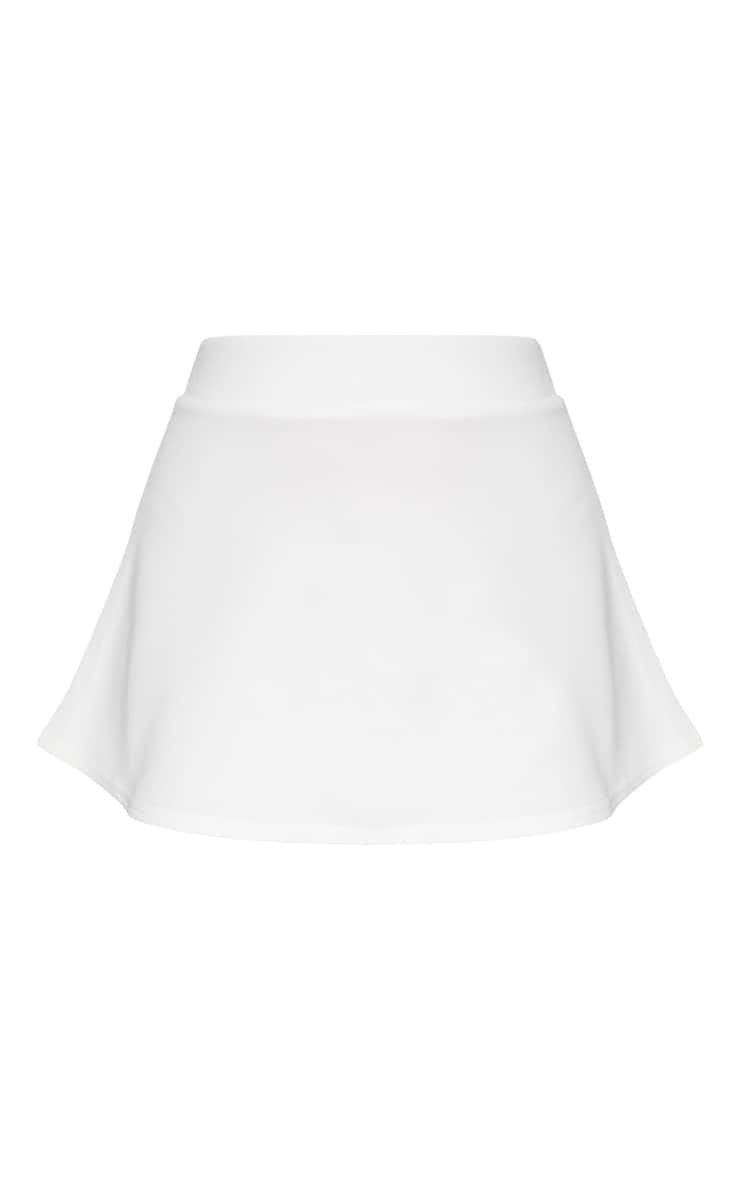 White Scuba Flippy Mini Skirt  3