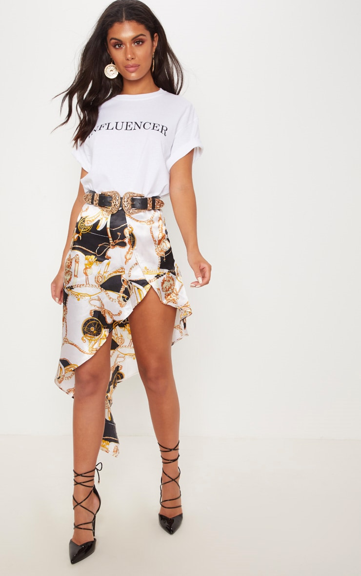 White Printed Satin Asymmetric Skirt