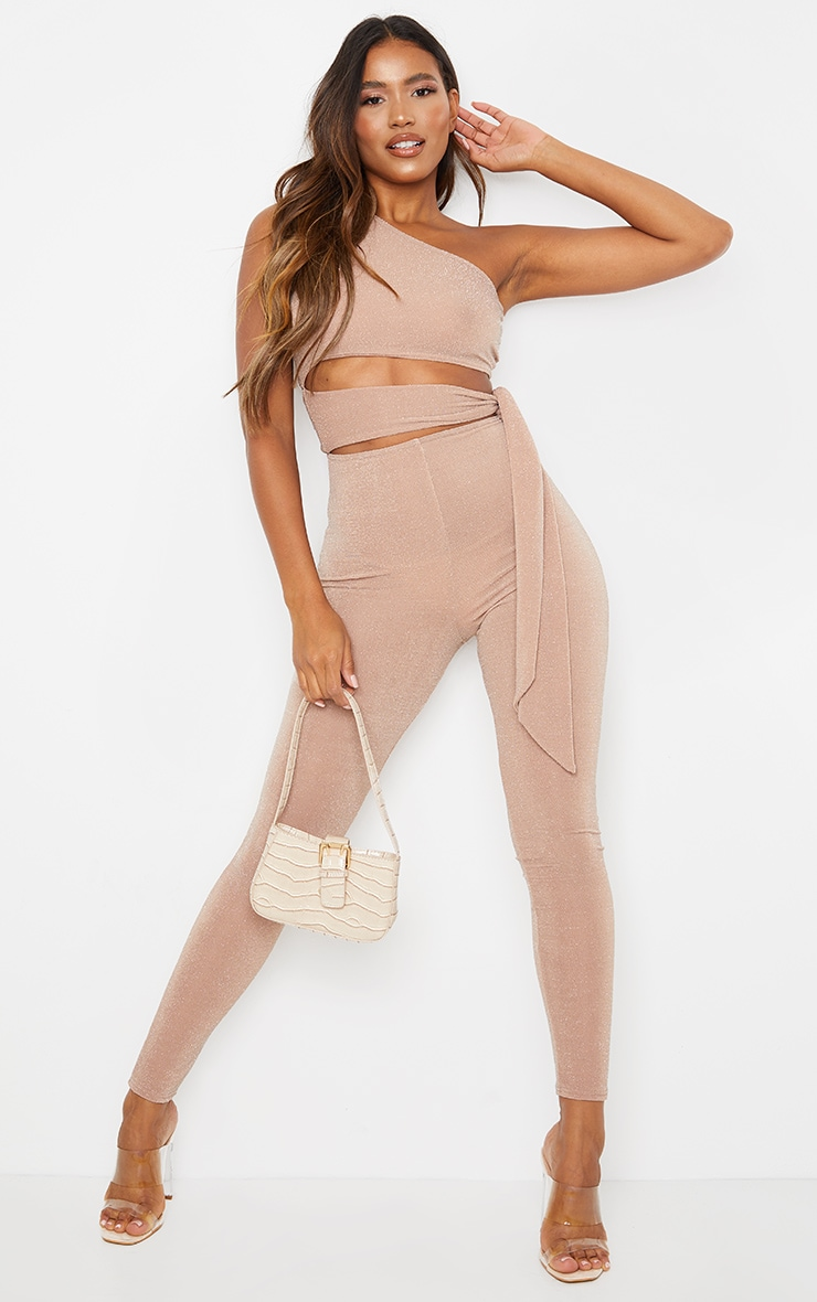 Nude Textured Glitter One Shoulder Cut Out Jumpsuit 1