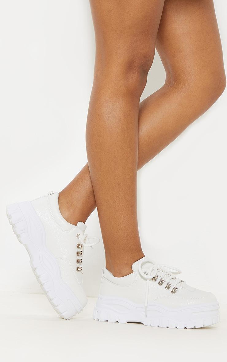White Flatform PU Chunky Hiker Sneaker 4
