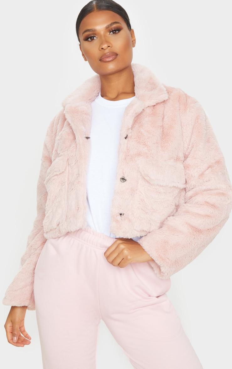 Dusty Pink Faux Fur Cropped Pocket Jacket 1