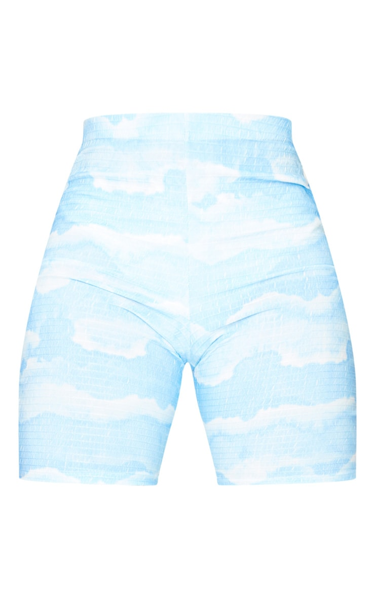 Tall Blue Tie Dye Cycle Crinkle Shorts 6