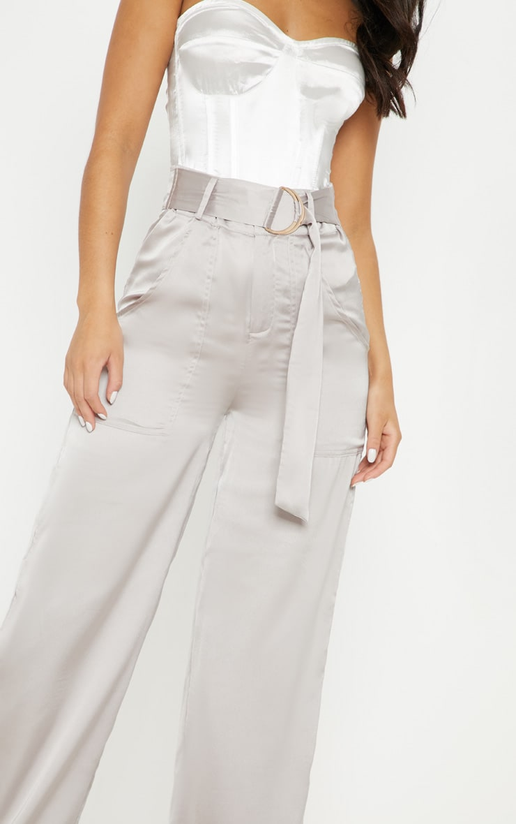 Silver Grey Satin D Ring Belt Wide Leg Trouser 5