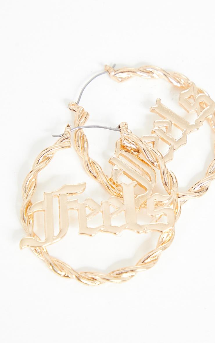 Gold Gothic Feels Hoop Earrings 3