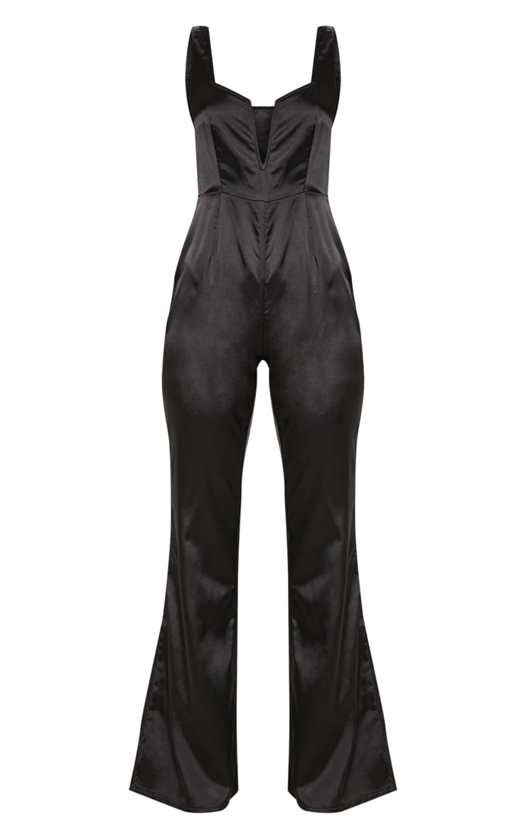 Black Satin V Bar Wide Leg Jumpsuit 3