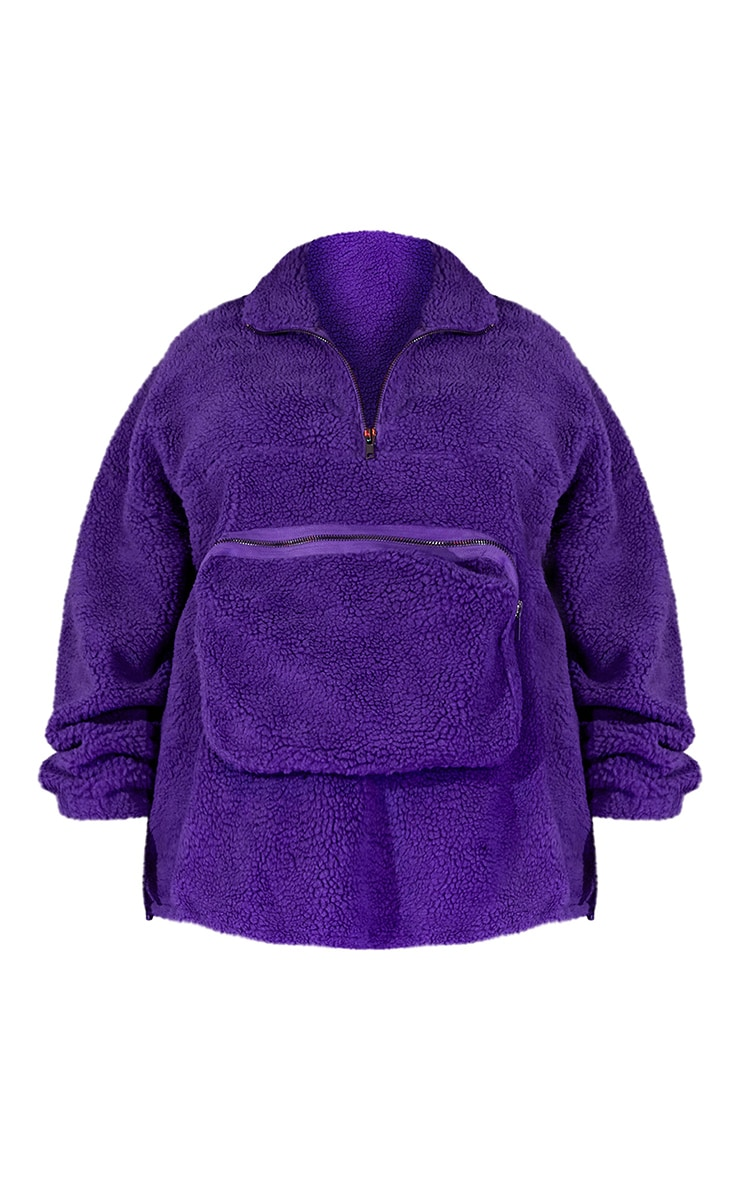 Plus Purple Unisex Borg Oversized Sweater 6