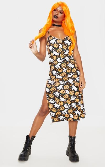 Black Pumpkin Print Split Detail Midi Dress