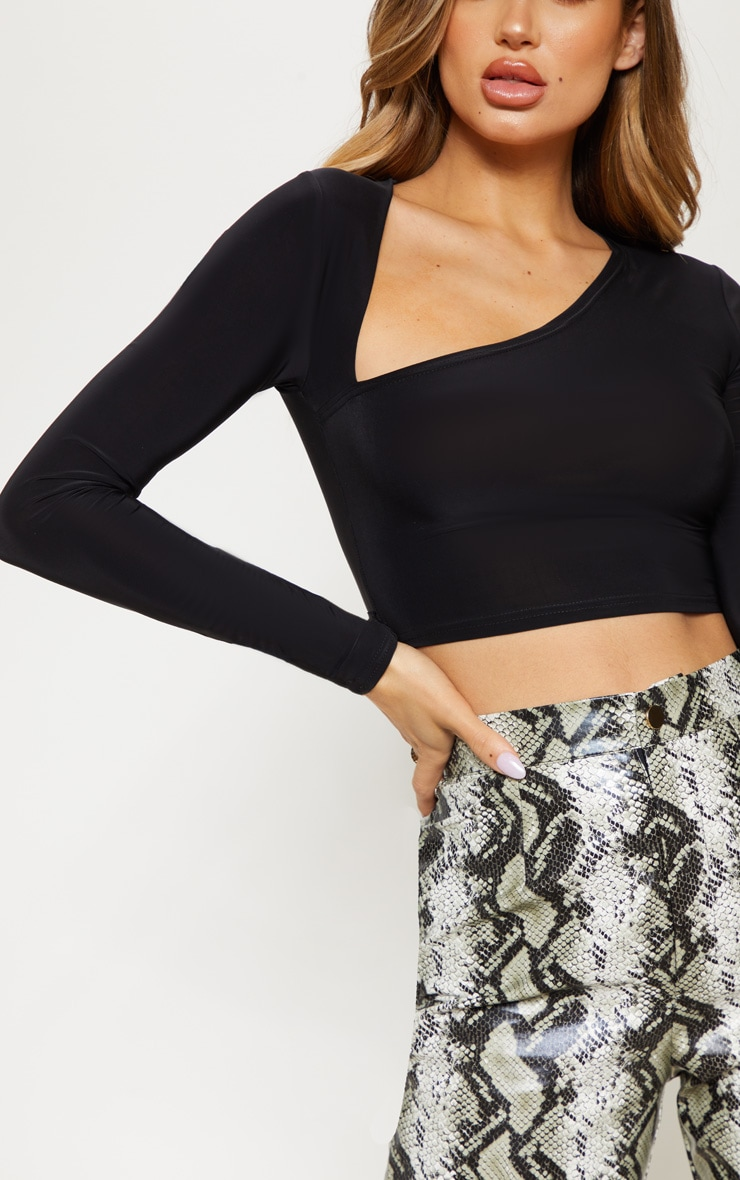Black Slinky Asymmetric Long Sleeve Crop Top 5