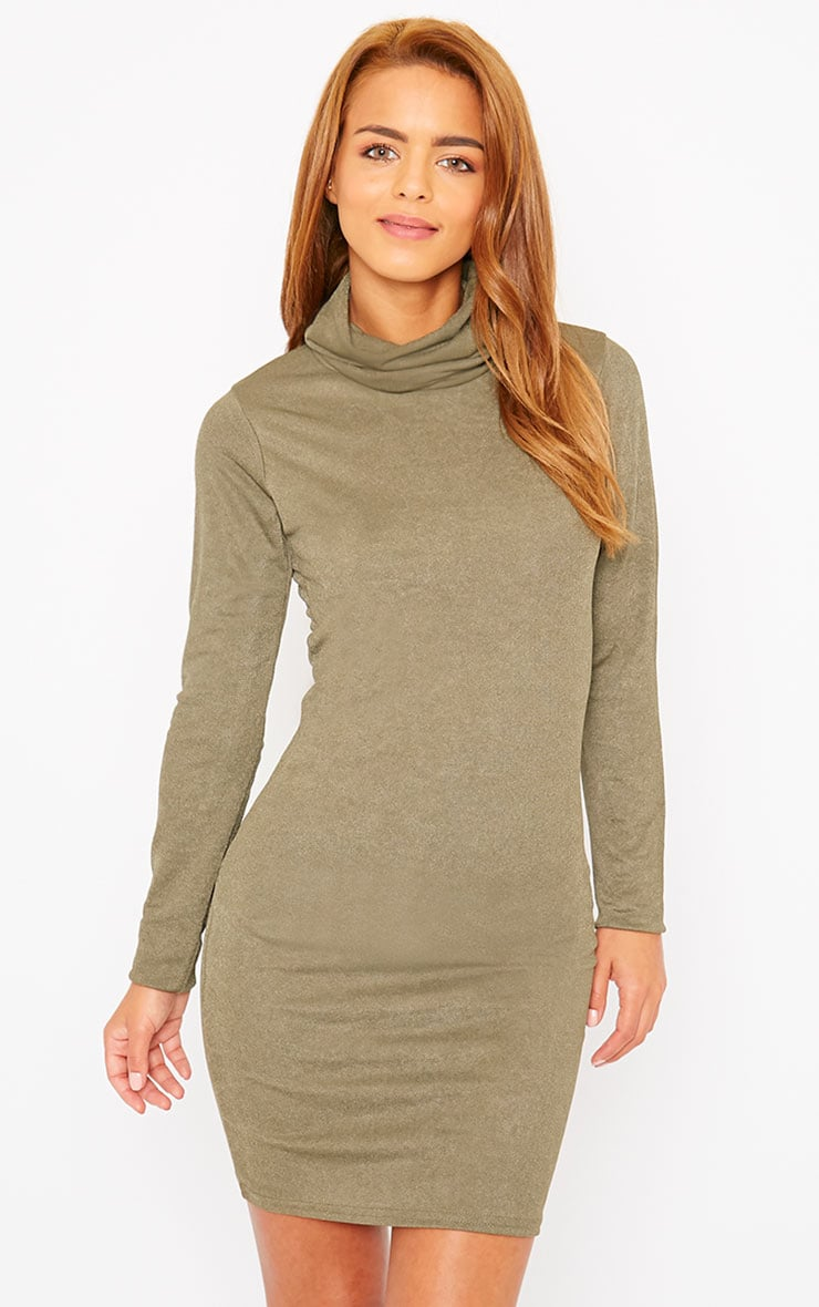 Catrina Khaki Roll Neck Dress 1