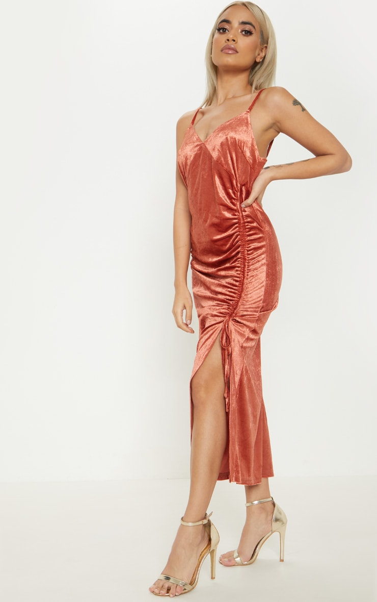 Petite Rust Velvet Ruched Side Strappy Midi Dress 4