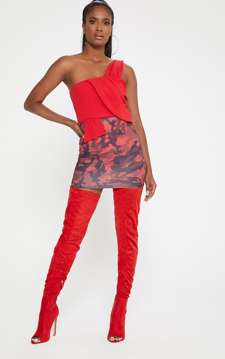 Red One Shoulder Origami Detail Thong Bodysuit 4