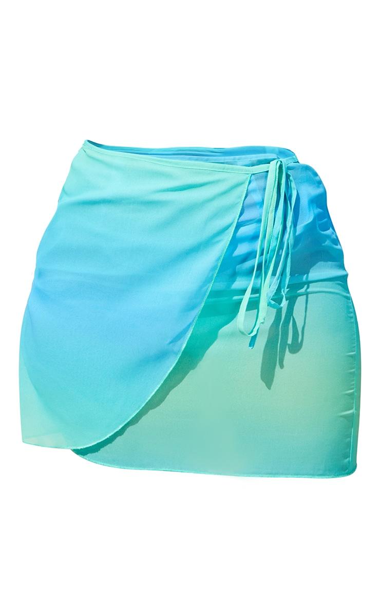 Turquoise Ombre Chiffon Mini Wrap Sarong 6