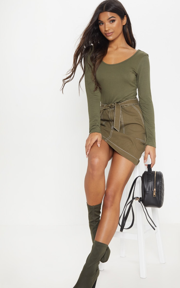 Basic Khaki Scoop Back Long Sleeve Bodysuit 5