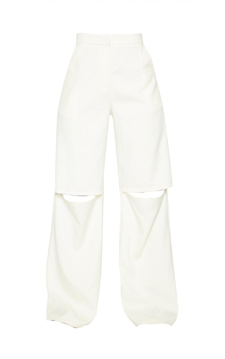 Cream Woven Knee Split Straight Leg Pants 5