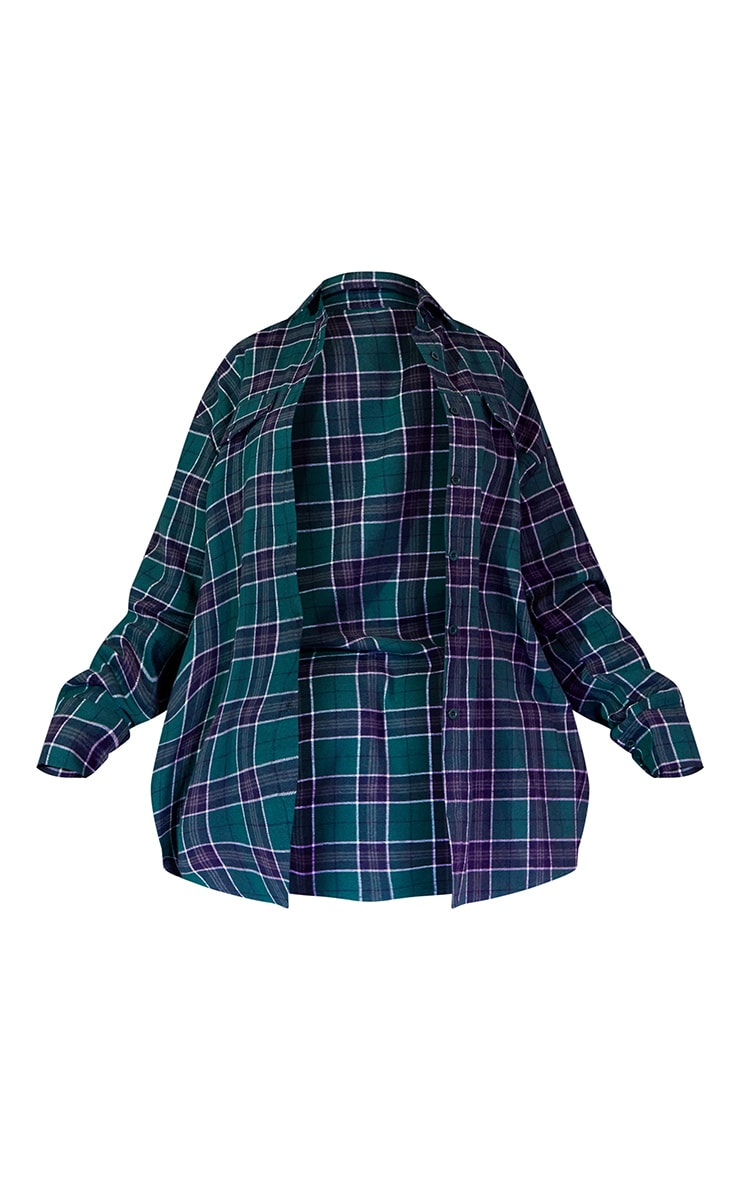 Green Unisex Check Flannel Oversized Shirt 6