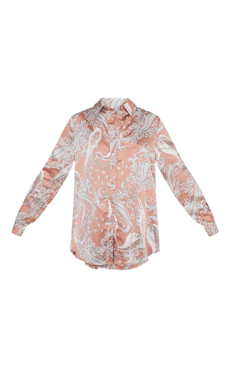 Peach Satin Paisley Printed Oversized Shirt 3