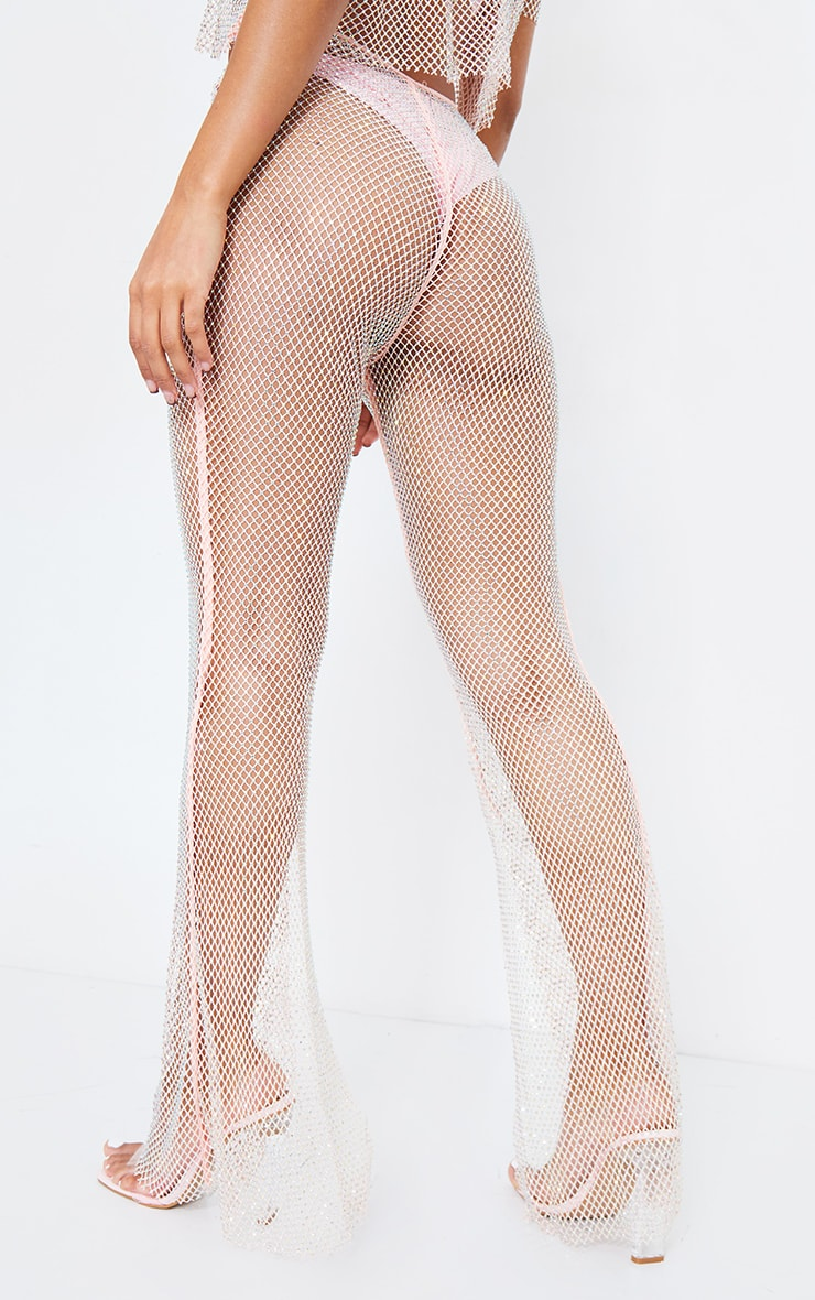 Baby Pink Diamante Fishnet Flare Trousers 4