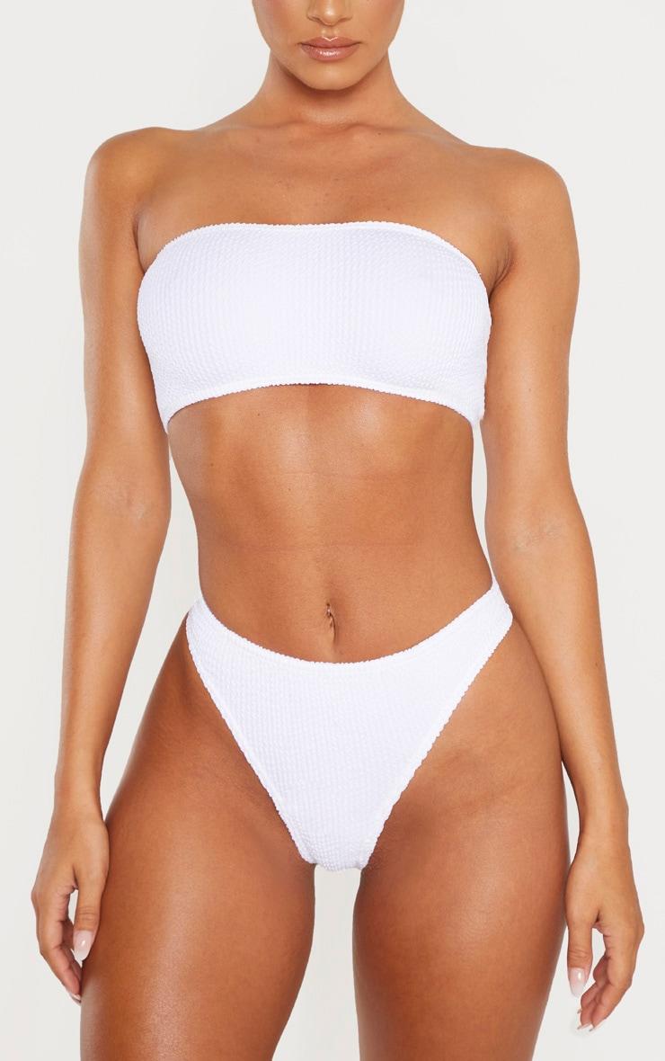 White Crinkle Thong Bikini Bottom 1