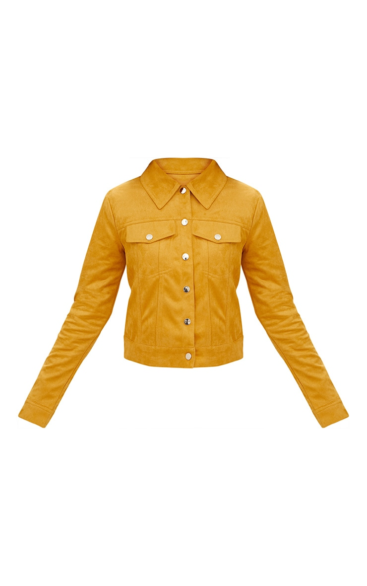 Mustard Faux Suede Trucker Jacket 3