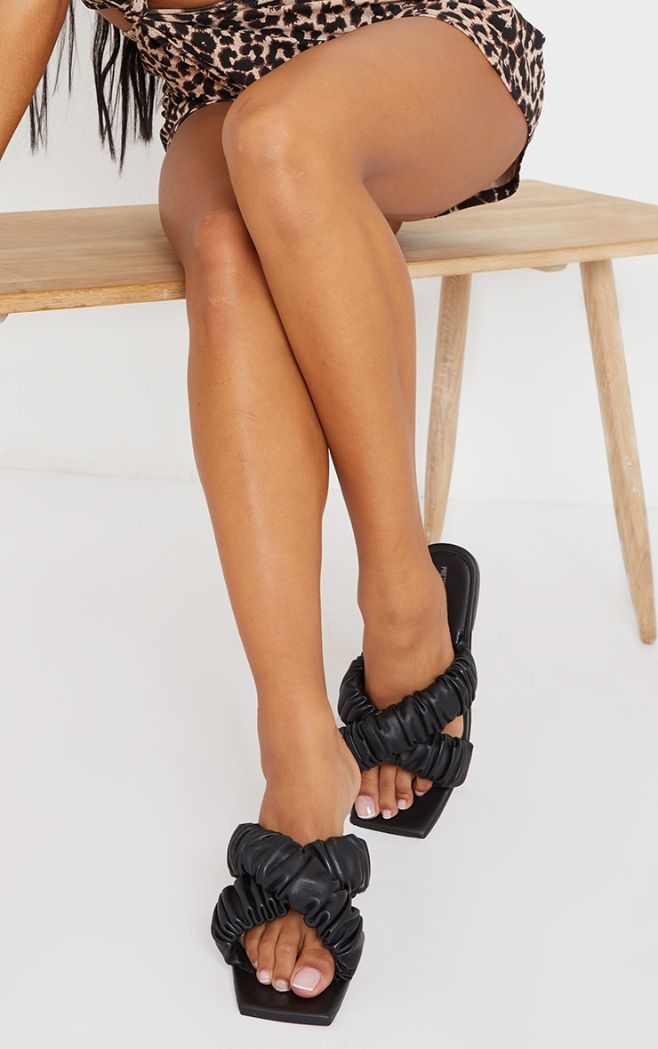Black Square Toe Ruched Cross Over Mule Sandals 1